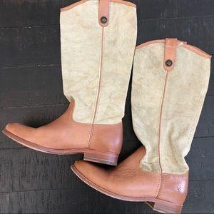 Frye Melissa button tan canvas leather boots Sz 8B